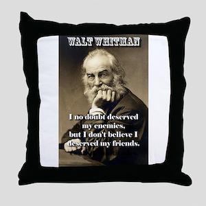 I No Doubt Deserved My Enemies - Whitman Throw Pil