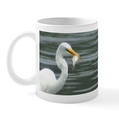 Great Egret with Fish Mug