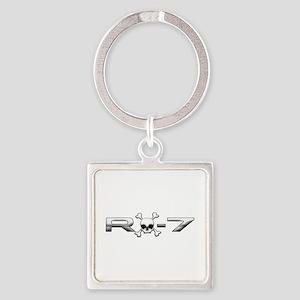 RX-7 Skull Square Keychain