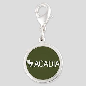 Acadia Moose Silver Round Charm