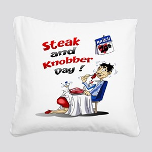Steak and Knobber Day Logo Square Canvas Pillow