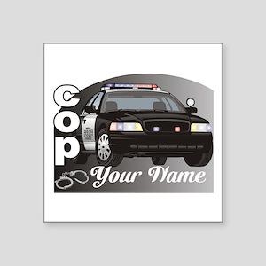 "Custom Personalized Cop Square Sticker 3"" x 3"""