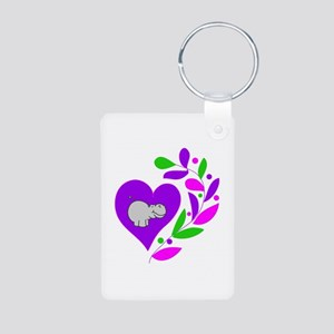 Hippo Heart Aluminum Photo Keychain
