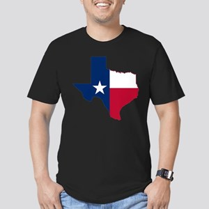 Texas Flag Map - Men's Fitted T-Shirt (dark)