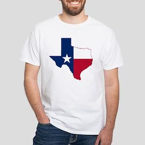 Texas Flag Map - White T-Shirt
