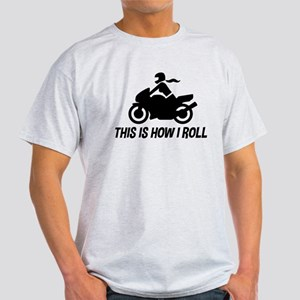 Female Motorcyclist Light T-Shirt