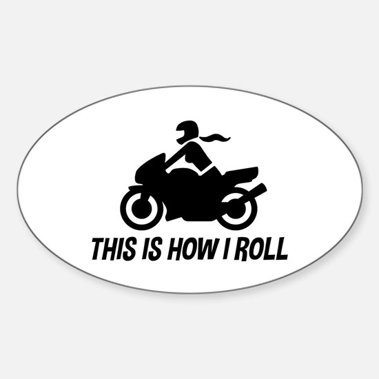 Female Motorcyclist Sticker (Oval)