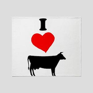 I heart Cow Throw Blanket