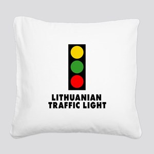 Lithuanian Traffic Light Square Canvas Pillow