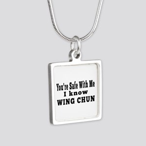 I Know Wing Chun Silver Square Necklace