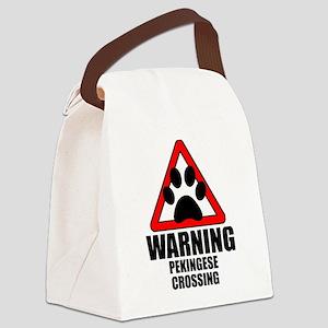 Pekingese Warning Canvas Lunch Bag