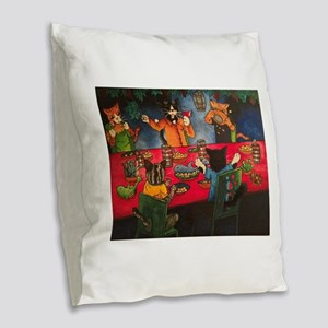 Night Feast Cats Burlap Throw Pillow
