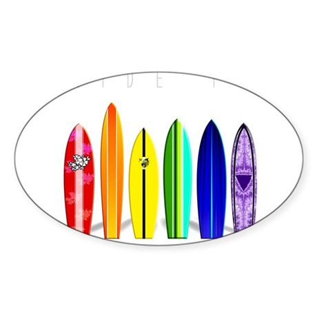 Rainbow Surf Rectangle Sticker