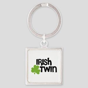 Irish Twin Shamrock Square Keychain