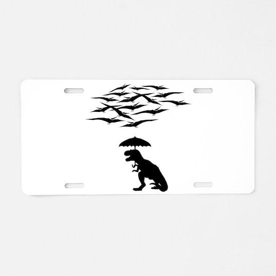 T-Rex vs the Pterodactyls Aluminum License Plate