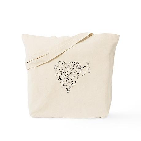 Flock of Birds Love Heart Tote Bag