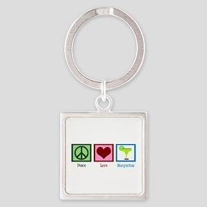 Peace Love Margaritas Square Keychain