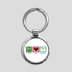 Peace Love Margaritas Round Keychain