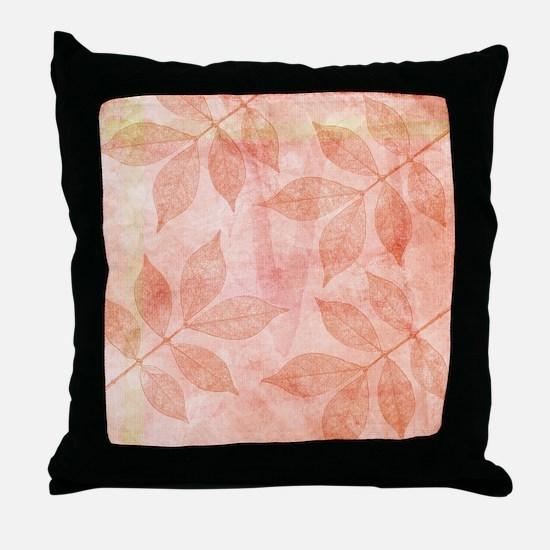 Peach Leaves Throw Pillow