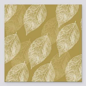 "Gold Leaves Square Car Magnet 3"" x 3"""