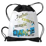 Lights Camera Music Dance Drawstring Bag