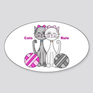 Cats Rule Sticker (Oval)