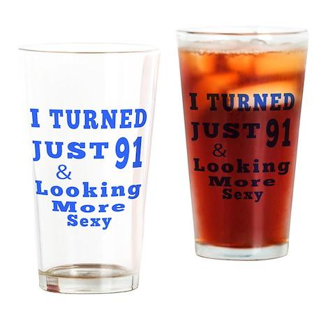 91 birthday designs Drinking Glass