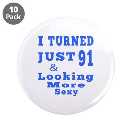 "91 birthday designs 3.5"" Button (10 pack)"
