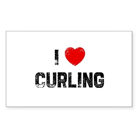 I * Curling Rectangle Sticker