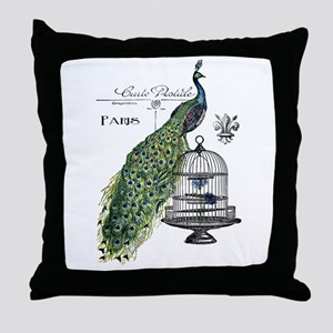 Peacock Birdcage Throw Pillow