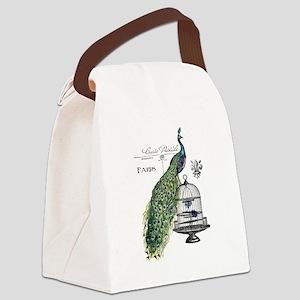 Peacock Birdcage Canvas Lunch Bag