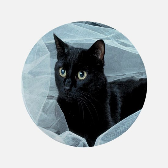"""Unique Black cat 3.5"""" Button"""