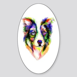 Bright Border Collie Oval Sticker