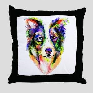 Bright Border Collie Throw Pillow