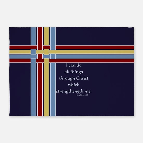 Bible Verse Philippians 4 13 Ribbons 5'x7'Area Rug