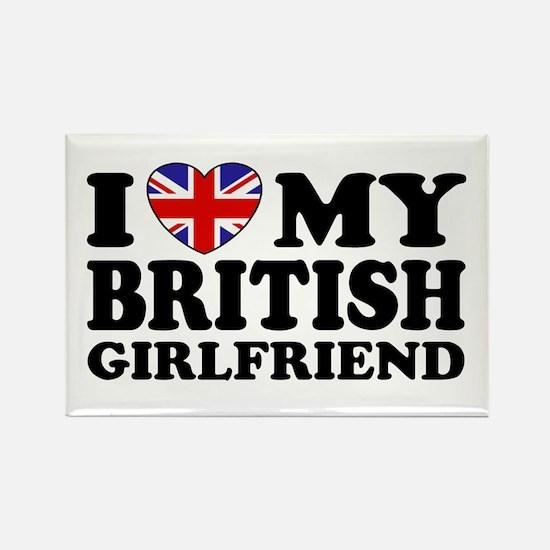 I Love My British Girlfriend Rectangle Magnet