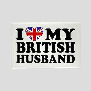 I Love My British Husband Rectangle Magnet