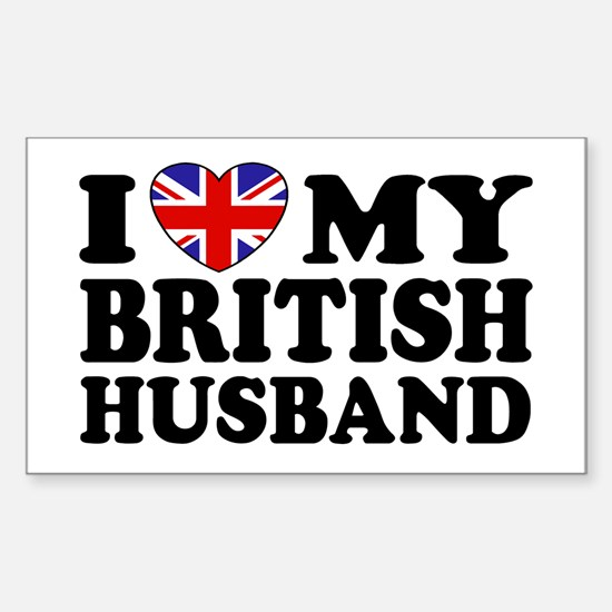 I Love My British Husband Rectangle Decal