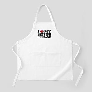 I Love My British Husband BBQ Apron