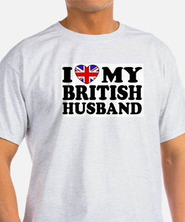 I Love My British Husband Ash Grey T-Shirt