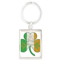 Irish Masons Clover Portrait Keychain