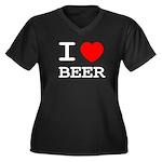 I heart beer Women's Plus Size V-Neck Dark T-Shirt