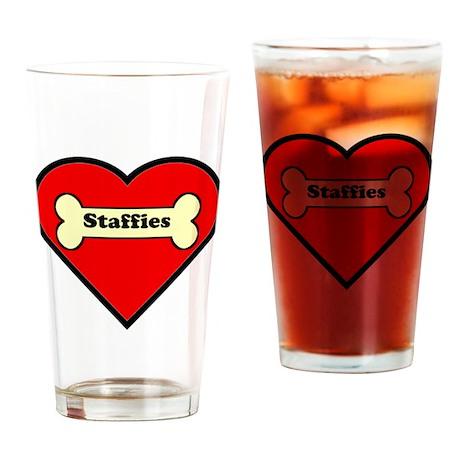 Staffies Heart Drinking Glass
