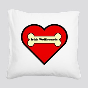 Irish Wolfhounds Heart Square Canvas Pillow