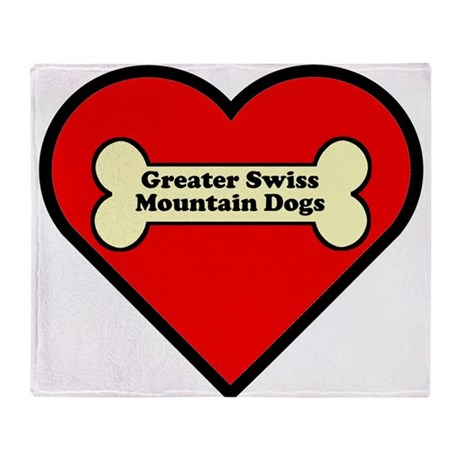 Greater Swiss Mountain Dogs Heart Throw Blanket
