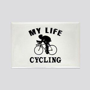 My Life Cycling Rectangle Magnet