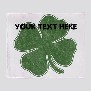 Personalizable Vintage Shamrock Throw Blanket