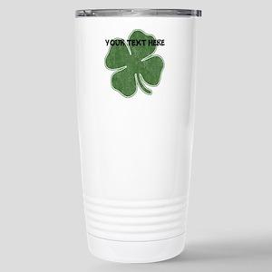 Personalizable Vintage Shamrock Travel Mug