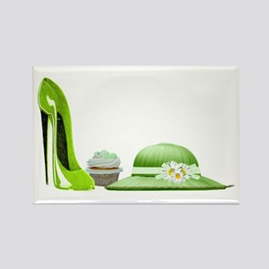 Lime Green Stiletto, Cupcake and Hat Art Rectangle