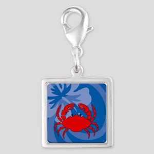 Crab Silver Square Charm